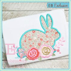 Bunny Roses 2 Applique - This design is to be used on an embroidery machine. Instant Download
