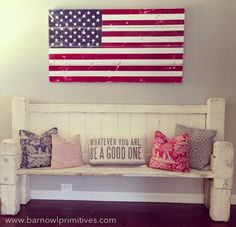 flags, bench, hands, american flag, back porches, hous, larg hand, distress american, american home decor
