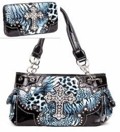 Western Leopard Cross Blue Rhinestone Pocket Purse W Matching Wallet Handbags, Bling & More! http://www.amazon.com/dp/B00GSYASEK/ref=cm_sw_r_pi_dp_E.7Ktb0S201GZC54