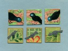 Crows: top row is colored pencil drawings, bottom row has colorful paper backgrounds with crows cut out of a flocked material.