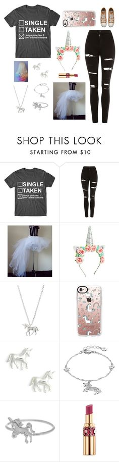 """""""Unicorn Costume(for contest)"""" by designerdream49 ❤ liked on Polyvore featuring Topshop, Estella Bartlett, Casetify, LC Lauren Conrad, Dogeared and Yves Saint Laurent"""