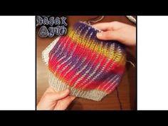 SİBEL KAVAKLIOĞLU - İki Renkli Selanik Modeli İle Dikişsiz Bere Yapımı - Başak YÜN - 26.01.2017 - YouTube Tunisian Crochet, Knit Or Crochet, Crochet Shawl, Baby Hats Knitting, Knitting Socks, Knitted Hats, Knitting Patterns Free, Knit Patterns, Free Pattern