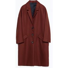 Zara Coat With Flap Pockets ($169) ❤ liked on Polyvore featuring outerwear, coats, dark russet, red coat and zara coat