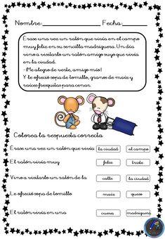 Fichas para trabajar la comprensión lectora - Imagenes Educativas Spanish Class, Teaching Spanish, First Grade Classroom, Kids Learning Activities, Speech Therapy, Kids And Parenting, Homeschool, Teacher, How To Plan