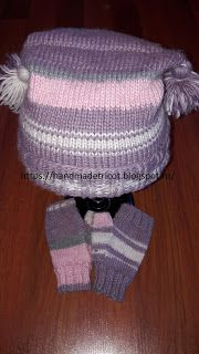 Handmade tricotaje: Set caciula si manusi fara degete tricotate