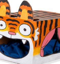 DIY cardboard box tiger cat house // Tigrises cicaház ( macskaágy ) karton papír dobozból // Mindy - craft tutorial collection