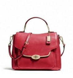 Coach Madison Small Sadie Flap In Leather Li Scarlet F26624 Bag - Satchel $299