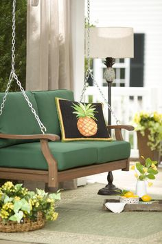 When you plan to invest in patio furniture you want to find some that speaks to you and that will last for awhile. Although teak patio furniture may be expensive its innate weather resistant qualit… Outdoor Cushions, Indoor Outdoor Rugs, Outdoor Living, Outdoor Decor, Wood Patio Furniture, Brown Furniture, Porch Swing, Front Porch, French Country Cottage