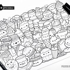 #inktober Day 1 - Food #inktober2016  Are you participating in Inktober challenge?  I've always wanted to do this challenge :D I'll be making one coloring page everyday based on a theme. I have my own list of topics which I'll be following. Day 1 theme is food.  These coloring pages will later be added to my Etsy shop.