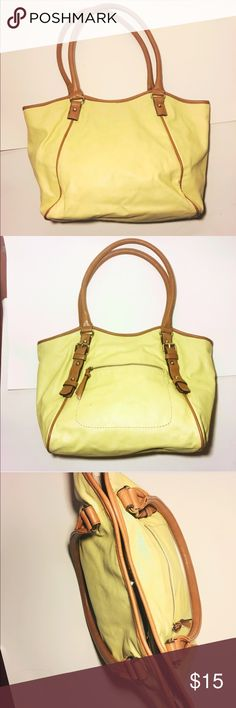 Yellow and Nude Shoulder Bag Want a cute shoulder bag that can fit pretty much everything? This beautiful yellow purse is just for you! This yellow purse with nude detailing is perfect for running errands or a day date with bae! Pair this with matching nude heels and an all white outfit for a super cute classic look. #bag #purse #yellow #nude Bags Shoulder Bags