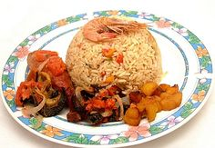 Nigerian food recipes: Coconut rice and Grilled chicken, green banana porridge with snails