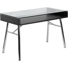 Flash Furniture Brettford Writing Desk with Tempered Glass Top, Black