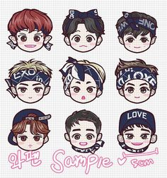 Kpop Exo, Exo Kokobop, Exo Chen, Chanyeol, Exo Cartoon, Exo Stickers, 5 Years With Exo, Exo Anime, Exo Fan Art