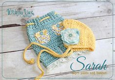 Newborn  Pants and Bonnet Set - Shabby Chic ~ Photo Prop - Baby Girl on Etsy, $45.00