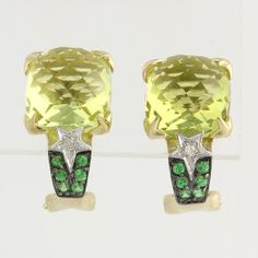 Lemon Quartz Garnet & Diamond Earrings  10k by WilsonBrothers, $149.99