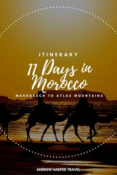 This 11-day Moroccan itinerary covers all of the top places to visit in the area. From Marrakech, take an astonishing drive over the Atlas Mountains via the dizzying Tizi n'Test pass to the old walled market town of Taroudant at the edge of the Sahara:  https://www.andrewharper.com/itinerary/11-day-morocco-itinerary/