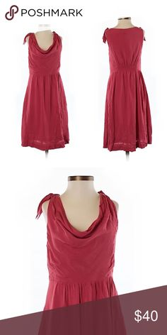 """Anthropologie Maeve Red Dress Size 2 100% Rayon Knee length 14"""" side to side at the under arm Perfect condition Perfect to accessorize and dress it up for the holidays, wear it with a jacket and boots or just some sandals. Anthropologie Dresses"""