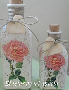 Bottles Şişelerrr, Botellas Frascos, Bottles Jars, Altered Bottles, Botellas Decoradas Decoupage, Craquelado Y Decoupage