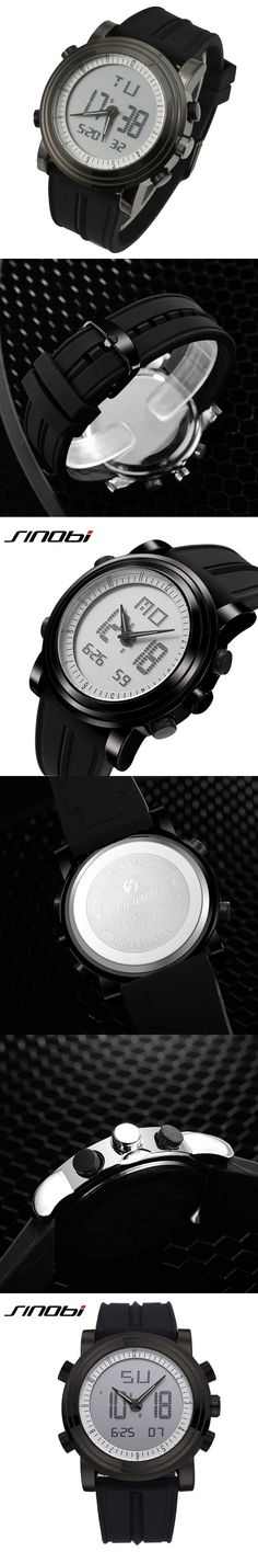 SINOBI Mens Watches Top Brand Luxury Sport Watches for Men Silicone Strap Led Digital Watch Men Wrist Watches relogio masculino