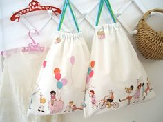 Gorgeous draw string bags - suitable for books/socks/toys etc