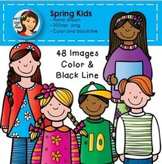 Spring Kids Clip Art*Please download the preview to see the full set in high resolution*Are you ready to meet 40 spring kids?  They are here to brighten your spring lesson materials :)Included are 40 spring kids and 9 colorful balloons.  All clip art is provided in color and black line versions.All images are in png (transparent background) and are high resolution 300dpi.