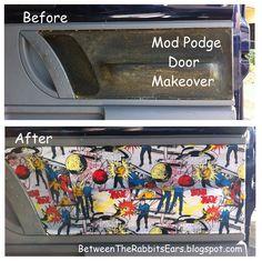 Between the Rabbit's Ears: DIY: Interior Car Door Makeover with Mod Podge