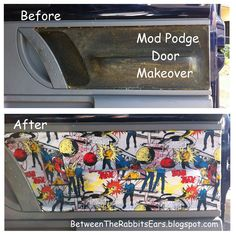 Between the Rabbit's Ears: DIY: Interior Car Door Makeover with Mod Podge