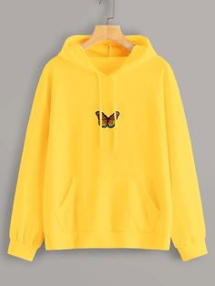 Shop Neon Yellow Butterfly Embroidery Drawstring Hoodie at ROMWE, discover more fashion styles online. Cute Lazy Outfits, Teenage Outfits, Trendy Outfits, Tomboy Outfits, Emo Outfits, Summer Outfits, Cute Sweatshirts, Cool Hoodies, Hooded Sweatshirts