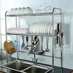 Nex Dish Rack Double Slot Stainless Steel Dry Shelf Kitchen Cutlery Holder with Tidy Stacking Shelf (Double Groove) Kitchen Cutlery, Diy Kitchen, Kitchen Dining, Kitchen Sinks, Bar Sinks, Kitchen Stuff, Cheap Kitchen, Kitchen Cupboards, Kitchen Plants