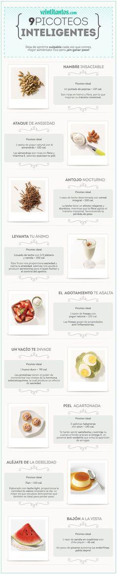 Mi pequeños aportes: 9 picoteos inteligentes para mantener la lìnea. Aquí les dejo una infografía con nueve picoteos para mantener la figura. #Salud #Nutrición #Infografía