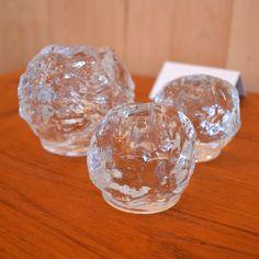 Mid-Century Modern - Bougeoirs snowball Ann Warff pour Kosta Boda