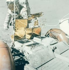 Charles Duke at the front of the Lunar Rover, EVA 3, Apollo 16, April 1972.