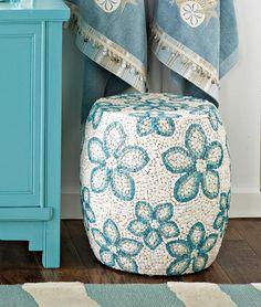 Shell Mosaic Ottoman - tropical - bath and spa accessories -