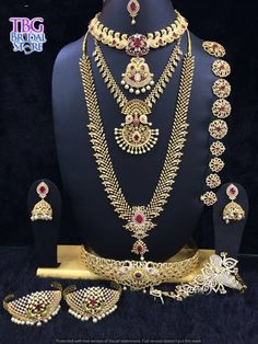 Stunning bridal jewelry in a real intricate design with an ultimate trend setting pattern made elegantly. Choose from a large collection of Bridal Jewels at TBG Bridal Store at very affordable rent.