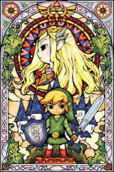 Zelda Stained Glass cross stitch pattern free - For Justin