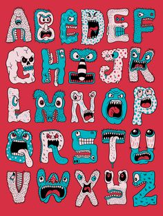 Monster Alphabet Prints and more available through Society6. / Daily Drawing #2077.
