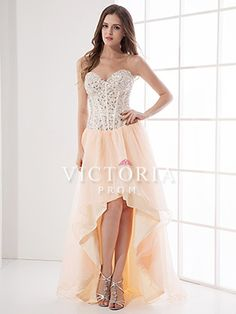 Coral A-Line High Low Chiffon Crystal Sweetheart Corset Prom Dress - US$ 124.99 - Style P0893 - Victoria Prom