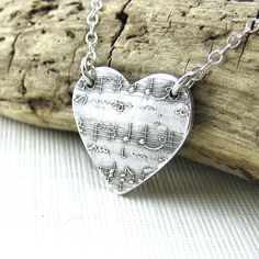 Sheet Music Necklace Sterling Silver Heart Necklace Small Silver... ($45) ❤ liked on Polyvore featuring jewelry, necklaces, polish silver jewelry, hand made jewelry, silver jewelry, polish jewelry and silver heart pendant