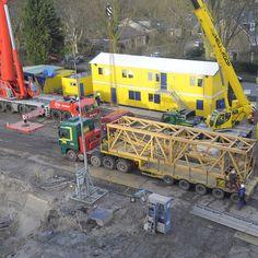 Het opbouwen van de torenkraan (6 februari 2014)