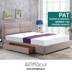 dimensions: cm material: cloth / solid wood color: cloth - beige, wood - natural * bed without mattress optional mattress POLARIS 160 Upholstered Bed Frame, Upholstered Ottoman, Bed Without Mattress, Pouf Rembourré, Grey Drawers, Leather Headboard, Ottoman Bed, Bedroom Bed Design, Mattress Springs