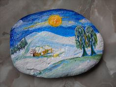Snow-Landscape -hand painted rock by Anja Hoppe