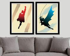 Batman VS. Superman Minimalist Poster Set - 13 X 19 Home Decor
