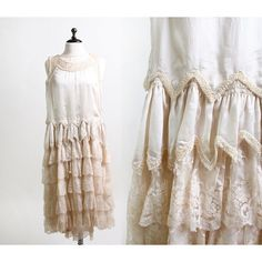 Vintage 1920s Wedding Dress Cream Lace and Faux Pearl Mini Flapper... ❤ liked on Polyvore featuring dresses, 1920s flapper dress, vintage dresses, vintage lace dress, beaded flapper dress and cream lace dress