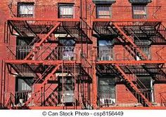 Stock Photo - Fire escape stairs building in Manhattan New York Cityscape landscape Travel NY USA New York Cityscape, New York City Apartment, Fire Escape, Manhattan New York, Ny Usa, Yacht Design, Stairs, Nyc, Stock Photos