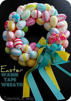 Easy and inexpensive easter egg wreath. Plastic eggs wrapped in washi tape!