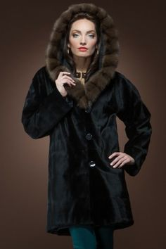 Reversible Black Sheared Mink and Sable Hooded Mid-Length Fur Coat
