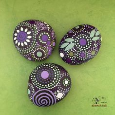 Painted Rocks, Mandala Inspired Design, Natural Home Decor, Rock Art, FREE Shipping, One-of-a-Kind Gift, purple gloaming collection Trio #31