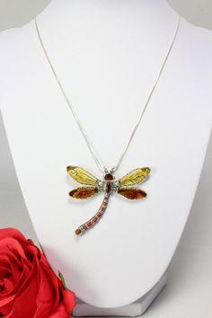 Libelle-silberner Anhänger mit Bernstein und Koralle an einer Silber Kette Bernstein, Gold, Pendant Necklace, Shop, Ebay, Jewelry, Fashion, Watches, Necklaces