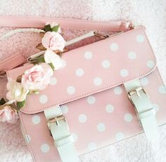 Baby pink spotty satchel and flower crown. I love satchel bags and this one is pink and polka dotted. Polka Dot Bags, Pink Polka Dots, Pink Love, Pretty In Pink, Cute Purses, Purses And Bags, Ropa Shabby Chic, Kawaii Bags, Just Girly Things