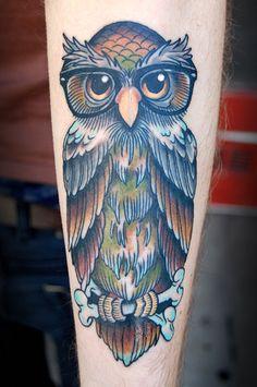professorial owl tattoo.